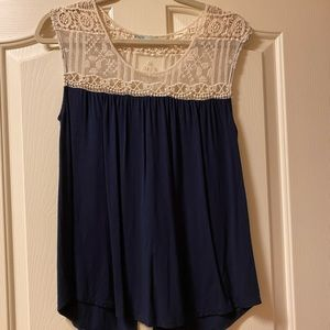 Lacy navy blue tank top